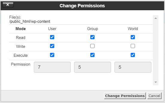 تنظیم مجوز فایل و پوشه های وردپرس در Cpanel